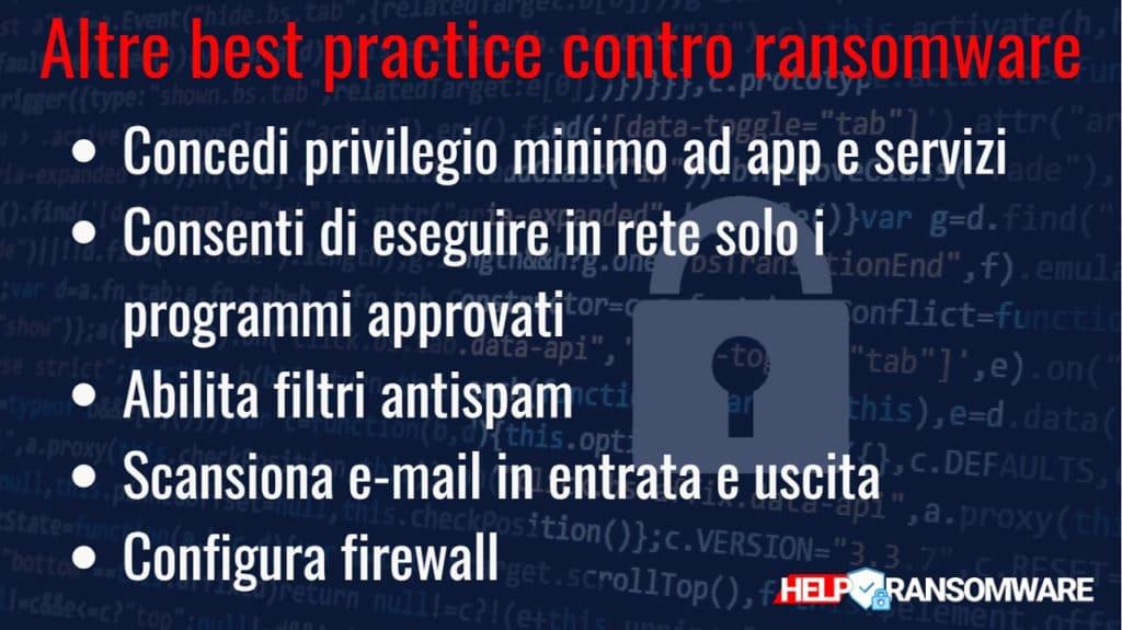 guida helpransomware Quali sono le altre best practice contro il ransomware