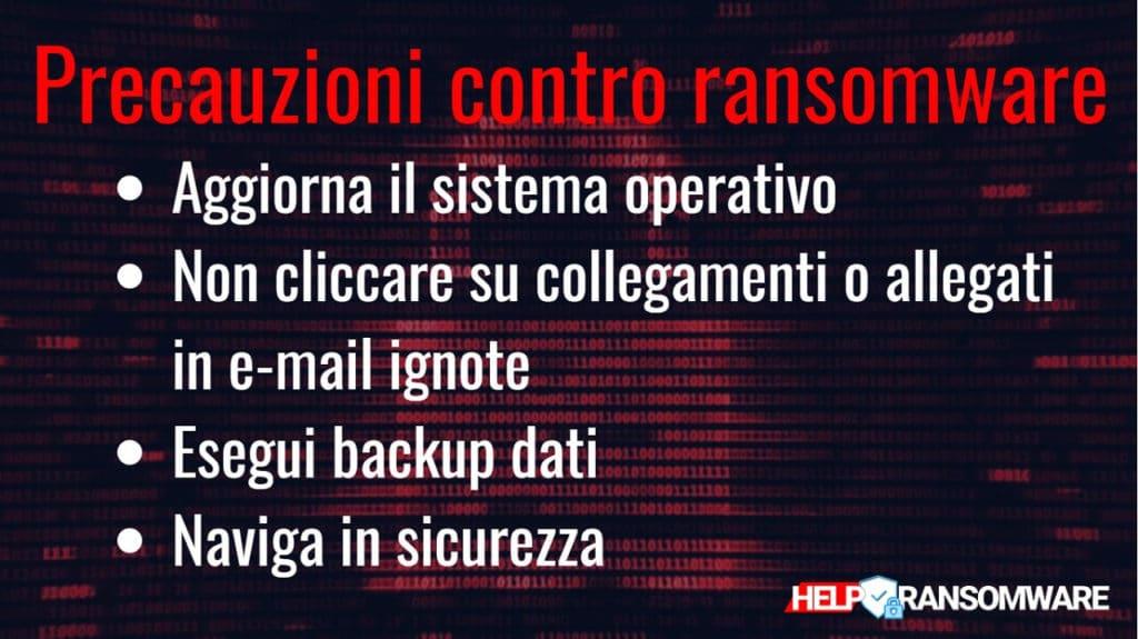 helpransomware guida Ci sono delle precauzioni contro il ransomware