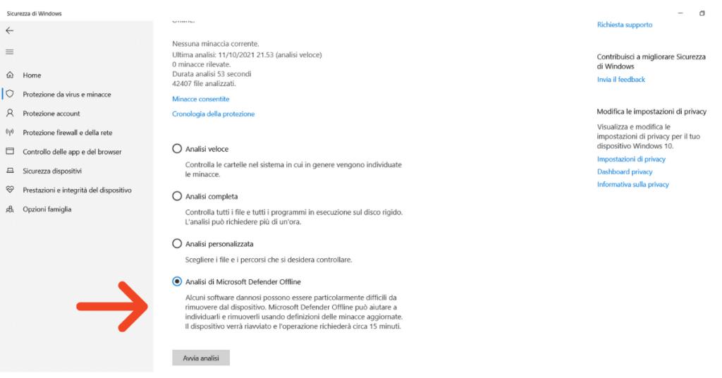 Windows Defender può rimuovere il malware Analisi Microsoft Defender offline Help Ransomware