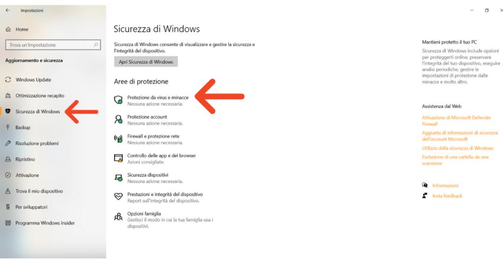 Windows Defender può rimuovere il malware Protezione da virus e minacce