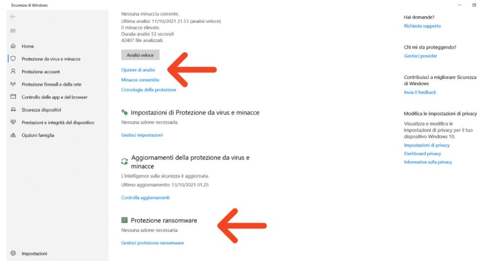 Windows Defender può rimuovere il malware opzioni di analisi Help Ransomware